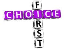 3D First Choice-Kruiswoordraadsel Royalty-vrije Stock Afbeeldingen