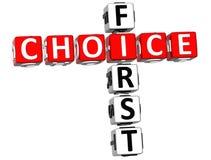 3D First Choice-Kruiswoordraadsel royalty-vrije illustratie