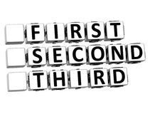 3D First Second Third Button Click Here Block Text Stock Photo