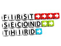 3D First Second Third Button Click Here Block Text Stock Image