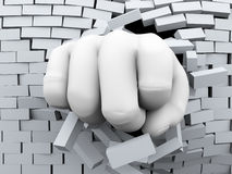 3d fist burst through brick wall vector illustration