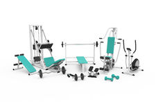 3d fitness equipment. 3D illustration with  9 fitness devices on white background Royalty Free Stock Photos