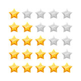 3D five stars rating icon set. Royalty Free Stock Photos