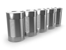 3d Five tin cans. 3d render of a row of tin cans Royalty Free Stock Image