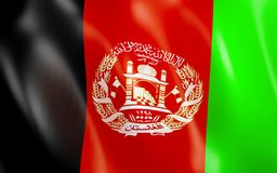 3D Flag of Afghanistan. 3D illustration. Flag of Afghanistan waving in the wind Stock Images