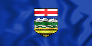 3D Flag of Alberta, Canada. Royalty Free Stock Image