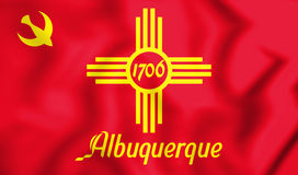 3D Flag of Albuquerque New Mexico, USA. Royalty Free Stock Images