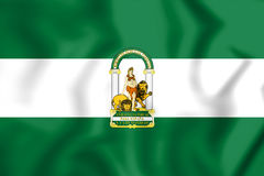 3D Flag of Andalusia, Spain. Royalty Free Stock Image