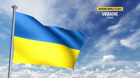 3D flag animation of Ukraine. High detailed 3D flag animation in front of a moving blue and cloudy sky stock video footage