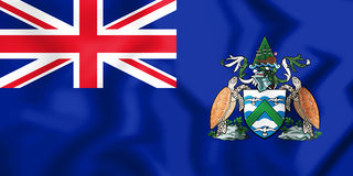3D Flag of Ascension Island. Royalty Free Stock Photo