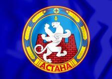 3D Flag of Astana, Kazakhstan. Royalty Free Stock Photos