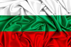 3d flag of Bulgaria waving in the wind. Fabric texture background Royalty Free Stock Images