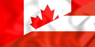 3D Flag of Canada and Austria. Stock Photo