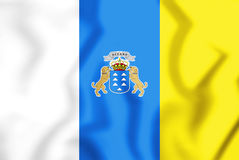 3D Flag of the Canary Islands, Spain. Royalty Free Stock Images