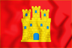 3D Flag of the Castile. Stock Images