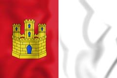 3D Flag of Castile-La Mancha, Spain. Stock Photo