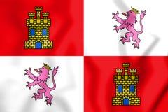 3D Flag of Castile and Leon, Spain. Stock Photos