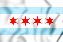 3D Flag of Chicago, USA. Royalty Free Stock Photos