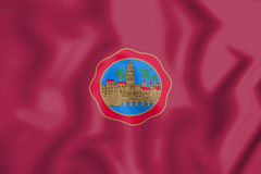 3D Flag of Cordoba City Andalusia, Spain. Stock Photography