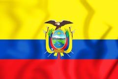 3D Flag of the Ecuador. Stock Photo
