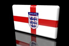 3D flag of England with the coat of arms vector illustration