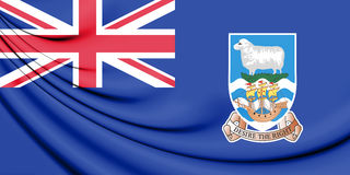 3D Flag of Falkland Islands. Stock Photo