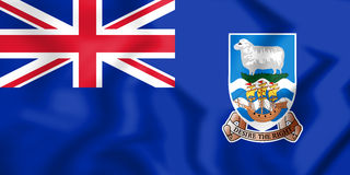 3D Flag of Falkland Islands. Royalty Free Stock Photo