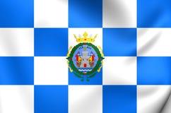 Flag of Ferrol City Galicia, Spain. 3D Flag of Ferrol City Galicia, Spain. Close Up Royalty Free Stock Photo