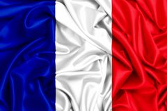 3d flag of France. Waving in the wind, silk fabric texture Royalty Free Stock Photos