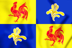 3D Flag of French Community Commission, Belgium. Stock Photo