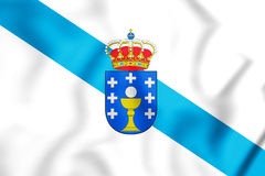 3D Flag of Galicia, Spain. Royalty Free Stock Photography