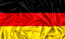 3d flag of Germany waving. In the wind, silk texture fabric background Royalty Free Stock Image