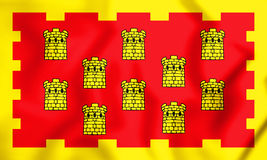 3D Flag of Greater Manchester, England. Royalty Free Stock Photo