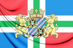 3D Flag of Groningen Province, Netherlands. Stock Photo