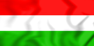 3D Flag of the Hungary. Stock Photo