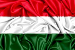3d flag of Hungary waving in the wind. Fabric texture background Stock Photo