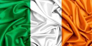 3d flag of Ireland waving in the wind. Silk fabric texture royalty free illustration