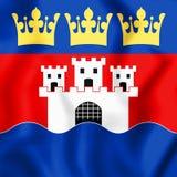 3D Flag of Jonkoping County, Sweden. Stock Photo