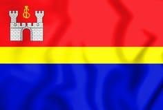 3D Flag of Kaliningrad Oblast, Russia. Royalty Free Stock Image