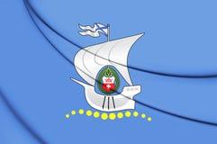 3D Flag of Kaliningrad, Russia. Stock Image