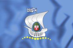 3D Flag of Kaliningrad, Russia. Royalty Free Stock Photos
