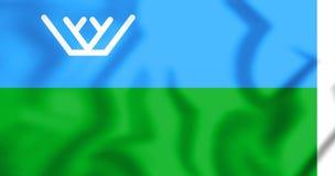 3D Flag of Khanty-Mansi Autonomous Okrug, Russia. 3D Illustration Stock Photos