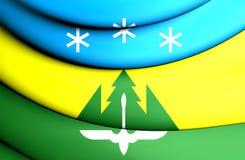 3D Flag of Khanty-Mansiysk, Russia. 3D Illustration Stock Image