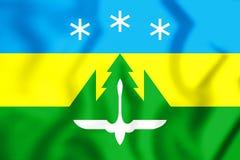 3D Flag of Khanty-Mansiysk, Russia. 3D Illustration Royalty Free Stock Photo