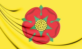 3D Flag of Lancashire County, England. Royalty Free Stock Images