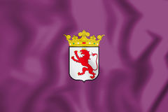 3D Flag of Leon Province, Spain. Stock Photography