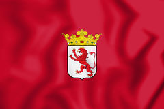 3D Flag of Leon Province, Spain. Stock Image