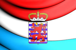 3D Flag of Luxembourg Province, Belgium. Stock Photo