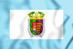 3D Flag of Malaga Province, Spain. Royalty Free Stock Photos