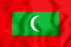 3D Flag of the Maldives. Stock Photography